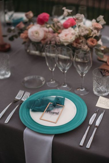 Turquoise Tableware with Miniature Gold Frame Name Place Setting