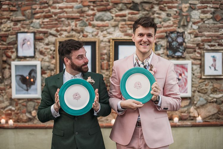 Grooms Holding Hand Painted Plates