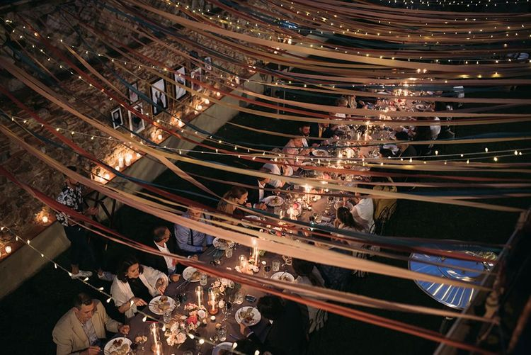 Colourful Ribbon and Fairy Light Wedding Reception Canopy