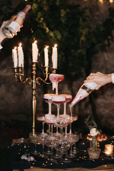 Couple Glass Champagne Tower