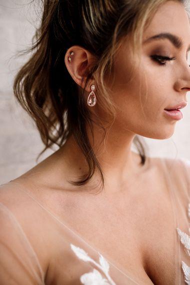 Delicate Pink Pear Drop Earrings