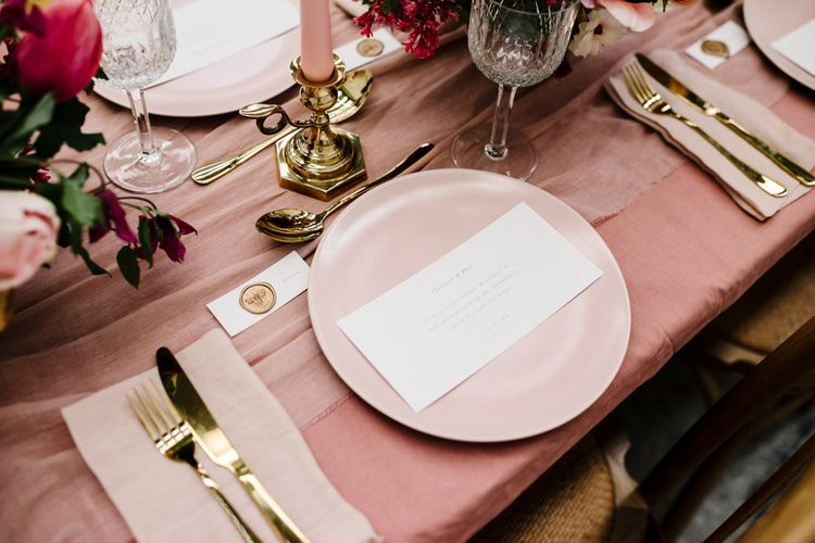 Elegant Place Setting with Pink Tableware and Gold  Cutlery