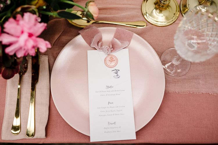 Stylish Menu Card with Pink Wax Seal and Velvet Ribbon