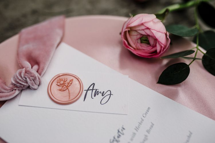 Stylish Name Card with Pink Wax Seal and Velvet Ribbon by  Knockknockpennystudio