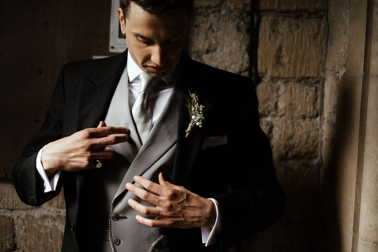 Groom In Tail Suit For Church Ceremony