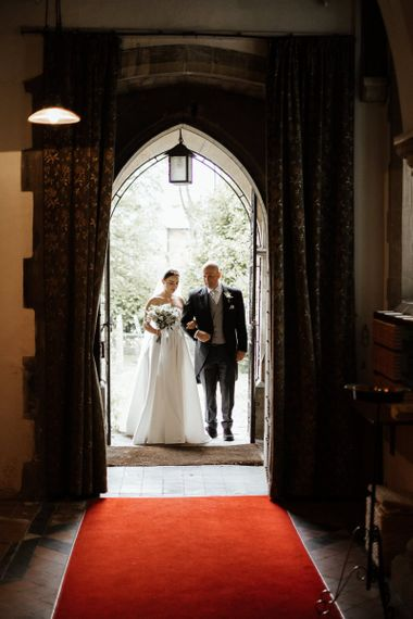 Bride And Father Make Their Way Into Ceremony