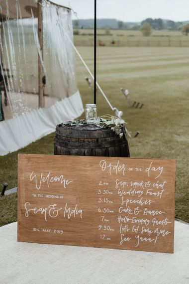 Wooden Wedding Sign Order Of The Day