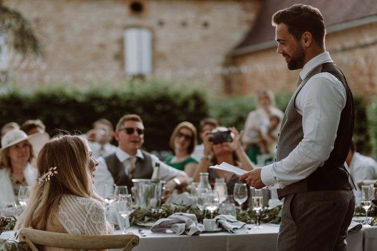 Intimate French Destination Wedding With Outdoor Ceremony Bride In Leonora Wtoo by Watters Images By Marine Marques Photographe