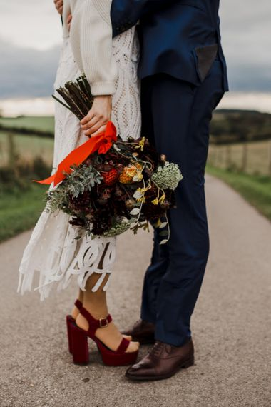 Orange and Red Dahlia Wedding Bouquet with Ribbons
