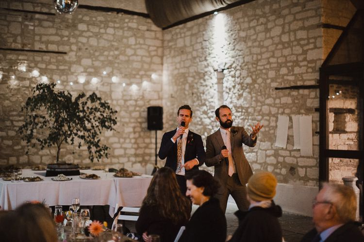 Wedding Reception Speeches with Lighting Backdrop