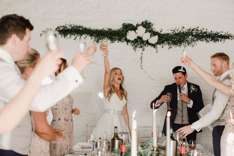 Wedding toast at Askham Hall
