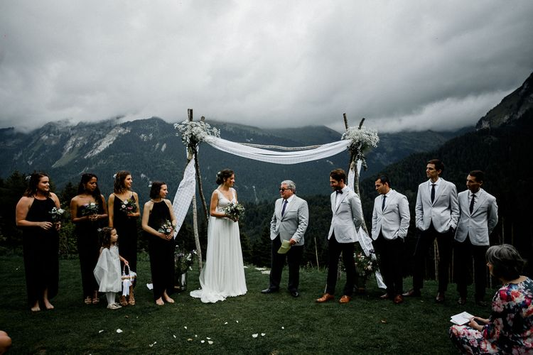 French Alps Wedding Ceremony with Bride in Mariées Passion Wedding Dress and Groom in Grey Blazer