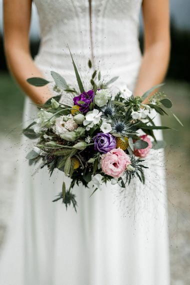Purple, Pink, White and Green Wedding Bouquet