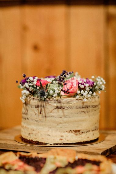 Single Tier Naked Wedding Cake with Flowers on Top