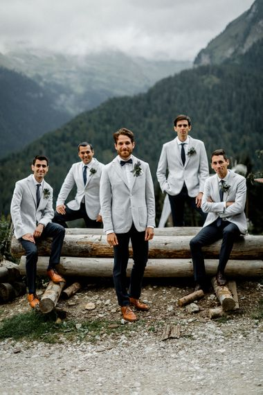 Groomsmen in Grey Blazers and Navy Chinos