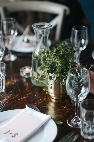 Pot Plant in Gold Vase | Victoria Stakes Pub Wedding Reception | High Street Wedding Dress for an Intimate Crouch End Pub Wedding with Bright Flowers | Miss Gen Photography
