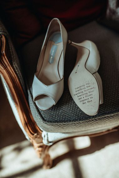 Charlotte Mills Peep Toe Wedding Shoes | Classic Country Wedding at Wadhurst Castle, East Sussex with Wedding Suppliers from RMW. The List | Foto Memories Photography