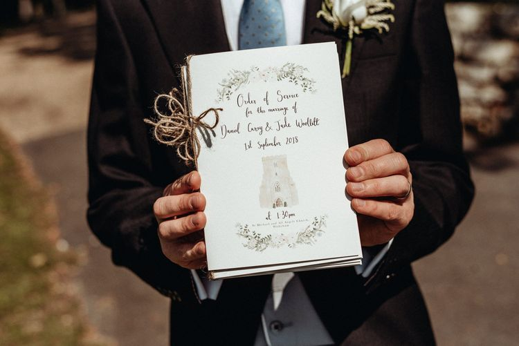 Wildflower Illustration Co. Order of Service Wedding Stationery | Classic Country Wedding at Wadhurst Castle, East Sussex with Wedding Suppliers from RMW. The List | Foto Memories Photography