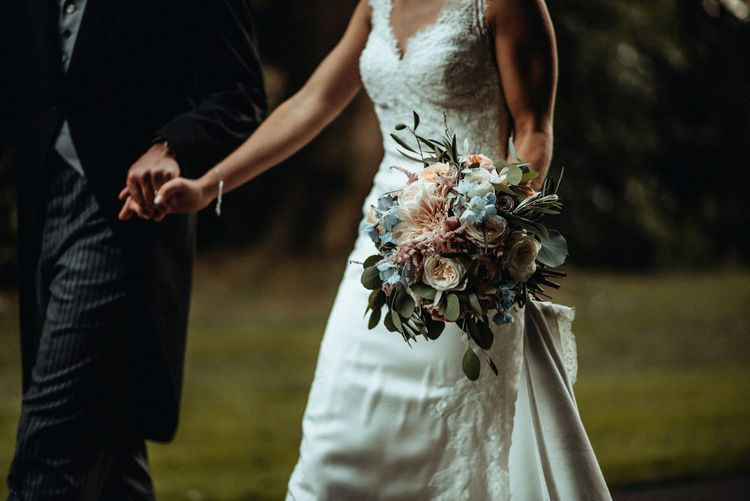 Pastel Pink & Blue Wedding Flowers by Daisy Ellen | Bride in Lace Pronovias Wedding Dress | Groom in Traditional Morning Suit by Macinnes Bespoke Tailoring | Classic Country Wedding at Wadhurst Castle, East Sussex with Wedding Suppliers from RMW. The List | Foto Memories Photography