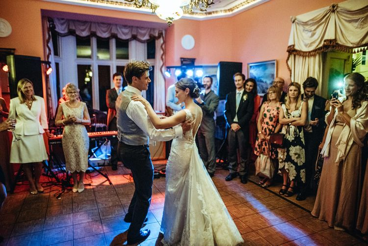 Choreographed First Dance | Bride in Lace Pronovias Wedding Dress | Groom in Traditional Morning Suit by Macinnes Bespoke Tailoring | Classic Country Wedding at Wadhurst Castle, East Sussex with Wedding Suppliers from RMW. The List | Foto Memories Photography