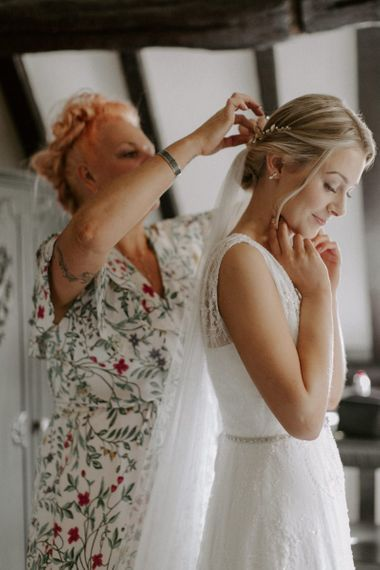 Wedding Morning Bridal Preparations with Getting Ready in Charlie Brear Carenne Wedding Dress with Corette Lace Overdress And Emmy London Belt