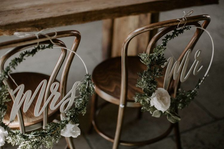 Hoop Chair Back Wedding Decor with Laser Cut Mr & Mrs Signs