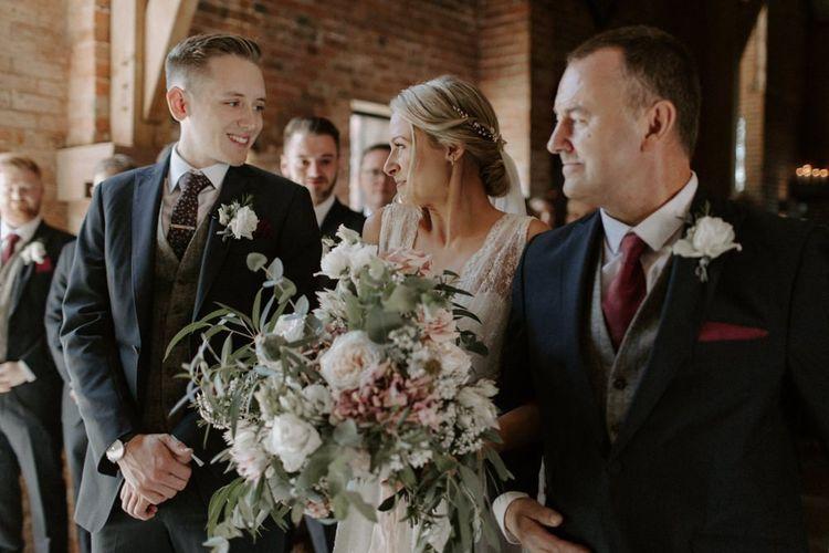 Wedding Ceremony Bridal Entrance with Oversized Wedding Bouquet