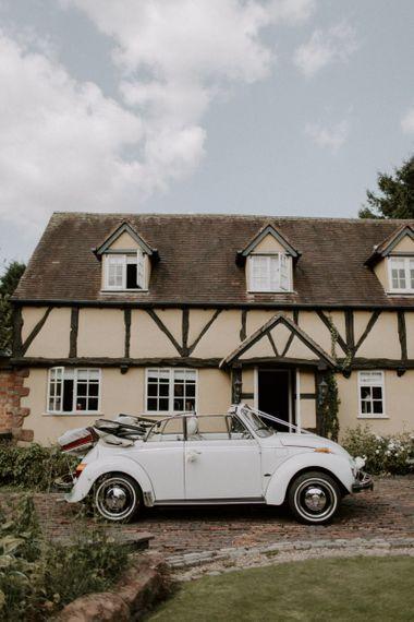White Vintage VW Beetle Wedding Car