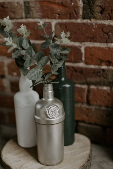 Spray Painted Bottled Filled with Eucalyptus