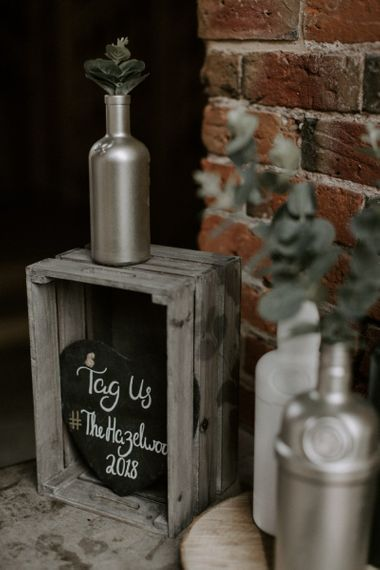 Crate and Chalkboard Wedding Decor