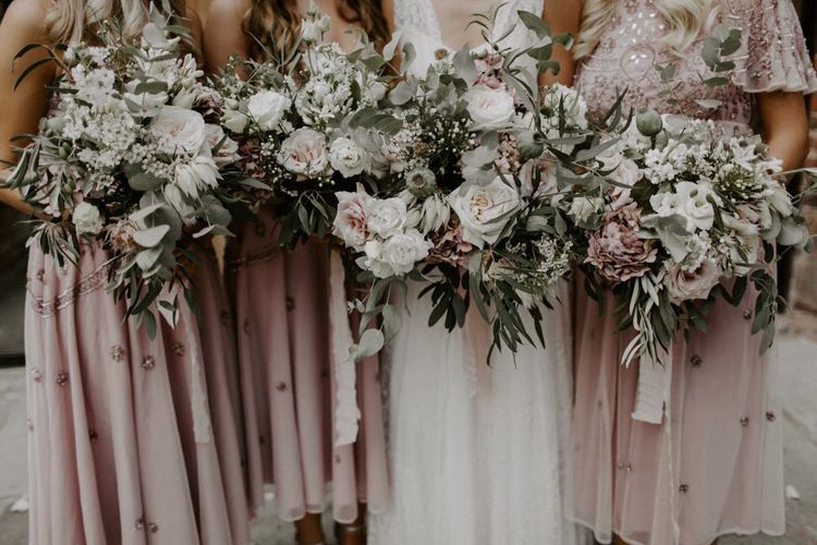 Blush Pink, White and Foliage Wedding Bouquets