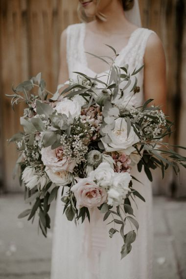 Oversized Bridal Bouquet with Pink, White and Foliage Flowers