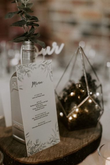 Centrepiece with Wooden Log Slice, Terrarium and Spray Painted Bottle