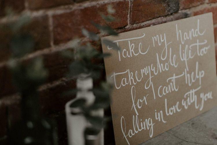 Song Lyrics Calligraphy Wedding Sign