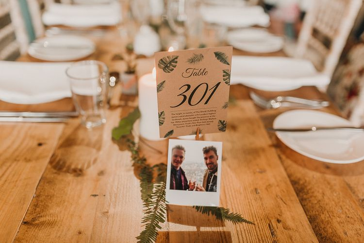 Table Numbers For Wedding With Leaf Print / Image By Lianne Gray Photography