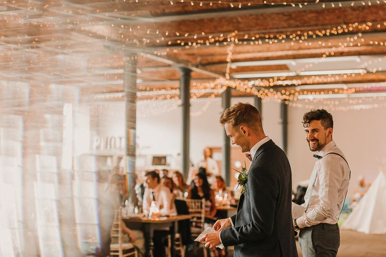 Grooms Speech / Foliage And Plant Filled Industrial Wedding At Gibson Mill And The Arches Dean Clough Yorkshire With Images From Lianne Gray Photography