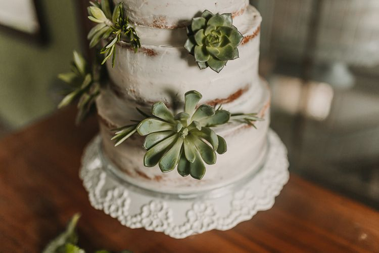 Wedding Cake With Succulent Decoration / Image By Lianne Gray Photography