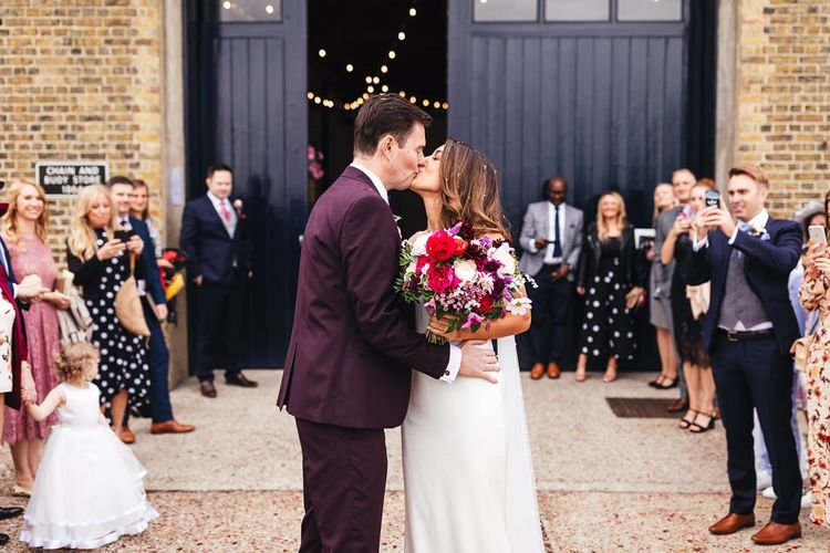 Bride and groom tie the knot at dry hire wedding venue in London