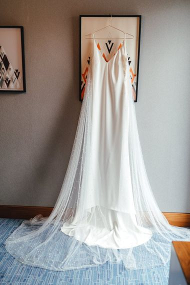 Bridal dress with polka dot Watteau train