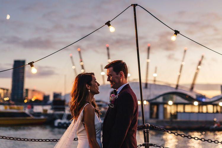 Festoon lighting and sunset views across London