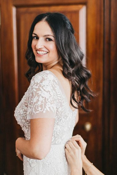 Wedding Morning Preparations at The Ned | Bride in Hermione de Paula Wedding Gown with Short Sleeves and Personalised Embroidery | Stunning Syon Park Wedding with Quill Stationery Suite | Nancy Ebert Photography