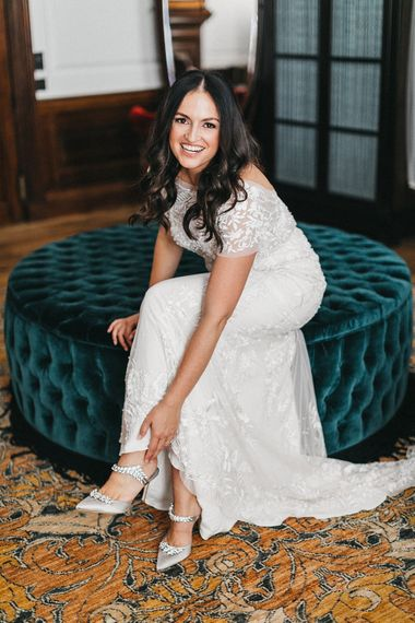 Wedding Morning Preparations at The Ned | Bride in Hermione de Paula Wedding Gown with Short Sleeves and Personalised Embroidery | Grey Satin Manolo Blahnik Mules with Crystal Embellishment | Stunning Syon Park Wedding with Quill Stationery Suite | Nancy Ebert Photography