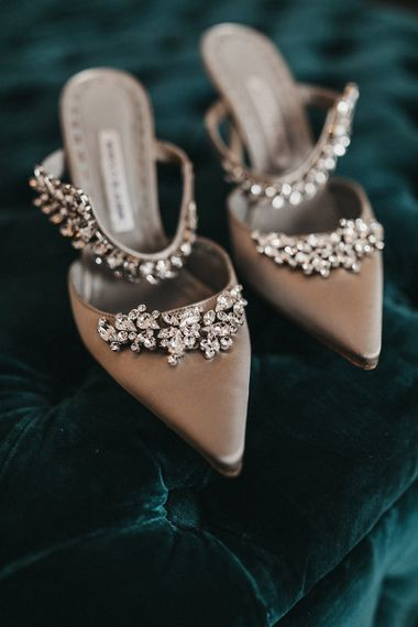 Manolo Blahnik Grey Satin Mules with Crystal Embellishment | Stunning Syon Park Wedding with Quill Stationery Suite | Nancy Ebert Photography