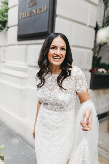 Bride in Hermione de Paula Wedding Gown with Short Sleeves and Personalised Embroidery | Cathedral Veil | Stunning Syon Park Wedding with Quill Stationery Suite | Nancy Ebert Photography