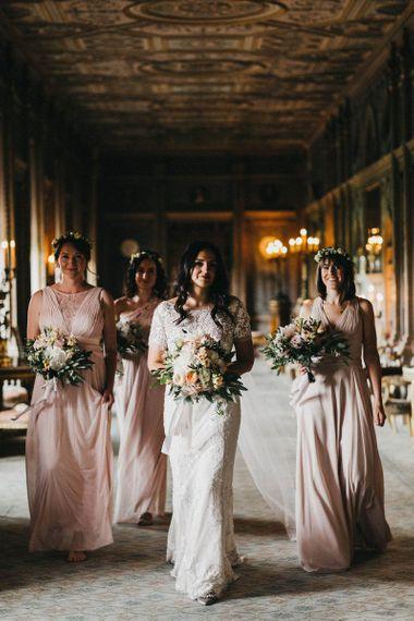 Bride in Hermione de Paula Wedding Gown with Short Sleeves and Personalised Embroidery | Cathedral Veil | Bridesmaids in Blush Pink Dresses by Adrianna Papell | Bridesmaid in Blush Pink Jenny Packham for Debenhams Dress | Flower Crowns | Blush, Cream and Pink Bouquets | Stunning Syon Park Wedding with Quill Stationery Suite | Nancy Ebert Photography