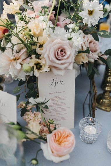 Personalised Wedding Breakfast Menu | Blush, Cream and Pink Floral Centrepiece | Grey Tablecloth | Tea Lights | Stunning Syon Park Wedding with Quill Stationery Suite | Nancy Ebert Photography