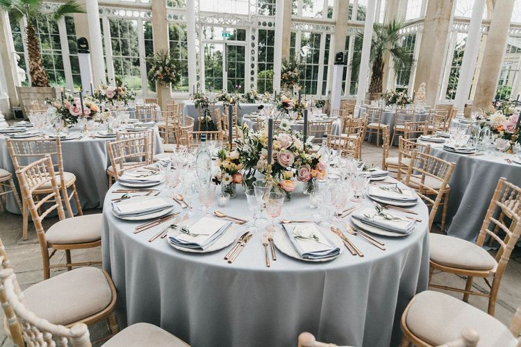 Wedding Reception Decor | Blush, Cream and Pink Floral Centrepieces | Grey Tablecloths | Grey Tapered Candles | Gold Cutlery | Pink Goblets | Stunning Syon Park Wedding with Quill Stationery Suite | Nancy Ebert Photography