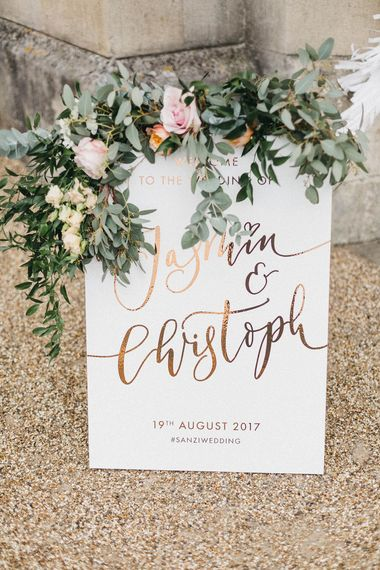 Welcome Sign by Quill London | Floral Drapery with Eucalyptus | Stunning Syon Park Wedding with Quill Stationery Suite | Nancy Ebert Photography