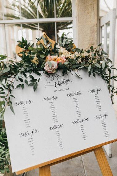 Wedding Reception Decor | Table Plan by Quill London | Flowers and Foliage | Stunning Syon Park Wedding with Quill Stationery Suite | Nancy Ebert Photography