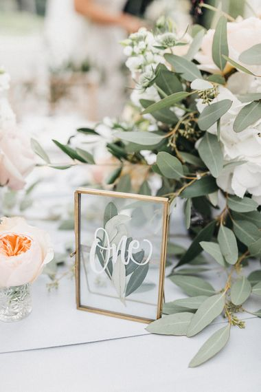 Wedding Reception Decor | Gold Framed Table Number | Grey Tablecloth | Stunning Syon Park Wedding with Quill Stationery Suite | Nancy Ebert Photography